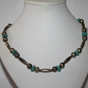 """Jewelry - 16"""" sterling and turquoise beaded necklace"""